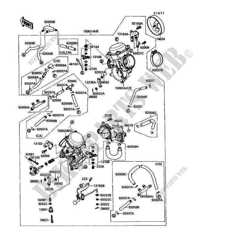 vergaser vn1500 b1 vn 15se 1987 1500 motos kawasaki
