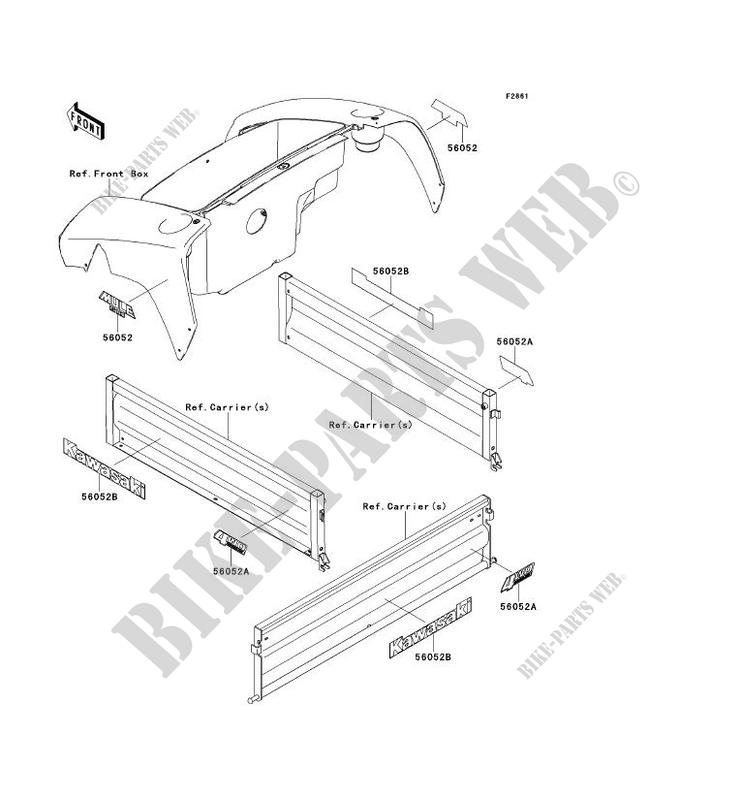 AUFKLEBER KAF400AEF MULE 610 4X4 2014 400 SSV Kawasaki ... on