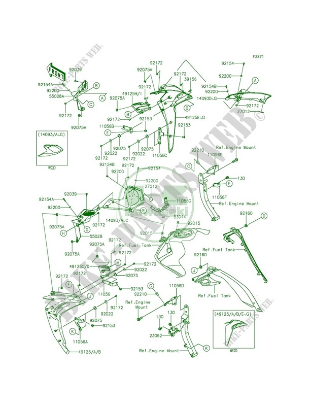 Cowlingcenter Kawasaki Z1000 Abs 2015 1000 Zr1000gff 20446 Original Engine Mounting Diagrams